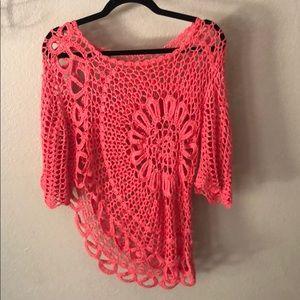 coco & carmen asymetrical crochet top L